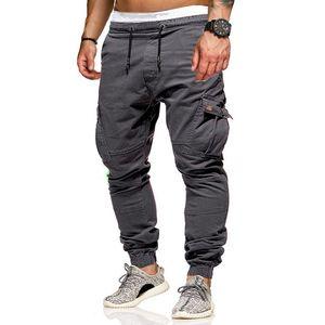 Calças Cotton Multi bolso de carga Casual Jogging calças dos homens Sólidos calças masculinas Calças Urban Tático de Combate