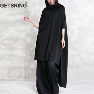 GETSRING Mujer Camisetas Irregular Sin mangas Algodón Talla grande Mujer Asimetría Negro Blanco Algodón Top Mujer 2019 Moda