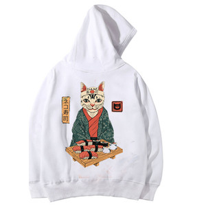 Harajuku Japanese men Hoodies Ukiyo Cat Print Hoodies wholesale cotton Sweatshirt Unisex Streetwear Hoodie drop shipping clothes MX191113
