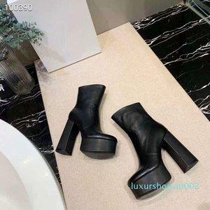 Hot Sale-Mulheres designer de saltos altos quadrado marca de moda feminina botas curtas senhoras genuína botas de couro no tornozelo Chaussure Homme tamanho 35-4100
