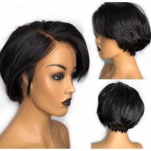 픽시 컷 가발 13x4 레이스 프런트가 짧은 밥 가발 자연 브라질 레미 인간의 머리 사탕 가발 블랙 여성