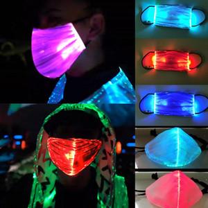 LED blinkt Saful 7 Farben leuchtendes Licht für Männer Frauen Rave-Musik-Party Weihnachten Halloween Light Up Radfahren Gesichtsmaske