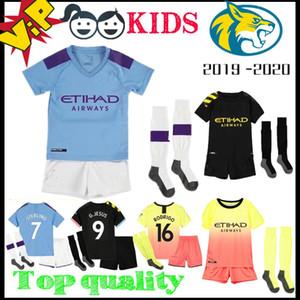 كيت الاطفال 19 20 SANE G.JESUS DE BRUYNE KUN AGUERO لكرة القدم جيرسي المدينة 2019 2020 MAHREZ رودريغو BERNARDO الأطفال كرة القدم قميص الزي الرسمي