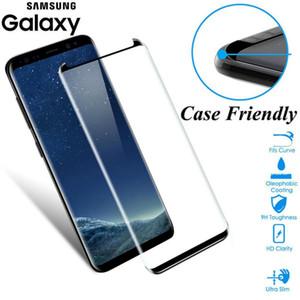 Cas amical Fit en verre courbé 3D pour Samsung Galaxy S8 S9 plus en verre trempé cas amical Protection d'écran pour la note 8 9 Shield