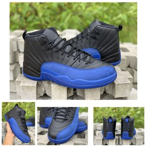 2019 New Release (High) 저 (Quality 12 Game Royal Men 농구 ​​화 Black Blue 12s Sports Sneakers Real Carbon Fiber 130690-014 상자.
