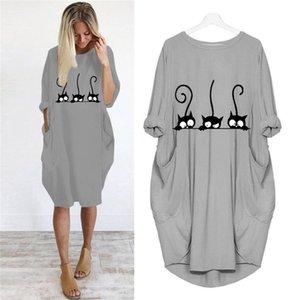 Impression robe mignonne de chat de poche Robe ample Vintage Automne Vêtements Femme Maxi Robes Casual Robes de soirée Designer Plus Size