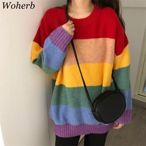 Woherb 2019 Otoño Rainbow Sweater Mujeres Harajuku Jumper Jerseys a rayas Suéteres de gran tamaño Coreano Vintage prendas de punto 20585