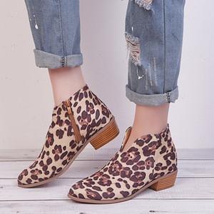 Nouveau mode transfrontalière nouvelle léopard grande taille d'esprit d'épaisseur féminine Europe et la fermeture à glissière côté des États-Unis avec des bottes pointues et bottillons BARE
