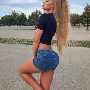 Four Ways Stretchable Melody Pants Summer Women Shorts Jeans in Denim Blue Femme Push Up Short Pants T200701