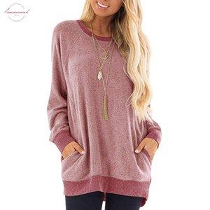 Осень Женщина Причинно Solid Pink Сыпучего Спорт T рубашка с длинными рукавом снаряжена Карманные футболки пружинных Девушки Basic Tee Футболка