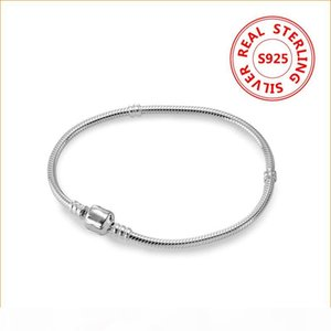 Classic design 925 Sterling Silver Charms Bracelet 3mm snake Chain for Pandora Charm Bracelets Jewelry Gift box for Women men