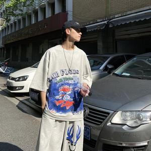 Мужские костюмы Летние Jogger Printed шею с коротким рукавом футболки костюм мужчин и женщин Спорт Сыпучие Двухсекционный Новый стильный Printed Tracksuit