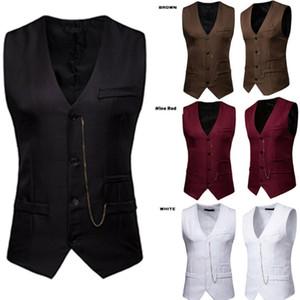 Mode Hommes formelle couleur unie manches Tuxedo Gilet Robe affaires Automne Gilet Costume Hauts Casual Veste