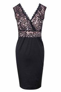 Women Dresses Sexy Deep V Lace Splice Mini Dress Black Summer Dress Skirt Fashion Banquet S-XL
