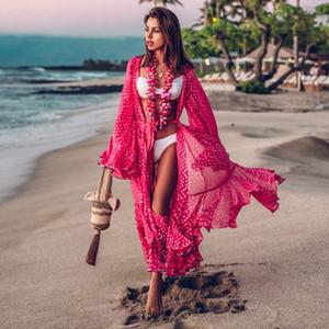 2020 Kadınlar Mayolu Cover Up Kol Kaftan Plaj Tunik Elbise Robe De Plage Katı Beyaz Pamuk Pareo Plaj Yüksek Yaka Kapak Up