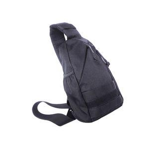 Impermeável durável saco de peito de nylon ao ar livre único ombro crossbody pequeno saco com interface de carregamento USB preto