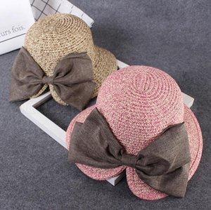부모 - 자식 엄마 키즈 밀짚 모자 3 색 여성 여자 활 태양 모자 야외 비치 모자의 OOA-6964
