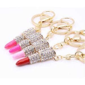 Fashion Lipstick Key Chain Lovely Women Jewelry Metal Crystal Lipstick Keychains Girls Key Ring Party Gift TTA2025-4