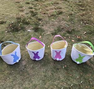 أرنب عيد الفصح سلة عيد الفصح الأرنب الأرنب أكياس مطبوعة قماش جراب البيض الحلويات سلال 4 ألوان 50PCS OOA3960