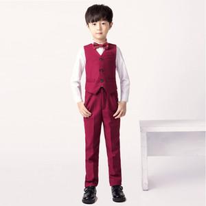 High quality Boys suits Spring autumn boys blazer Gentlemen's flowers vest suits lapel into casual suit 2pcs :Vest + pants
