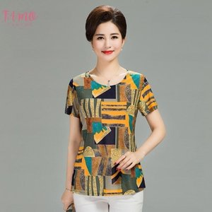 2020 Women Summer T Shirt Printed Milk Silk Short Womens T Shirt Middle Aged Mother Clothes Plus Size L 4Xl Female Tops