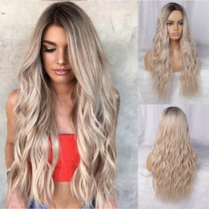 Heat Resistant Free Part Ombre Wig Glueless Blonde Water Wave Lace Front Wigs With Dark Roots Cheap Long Synthetic Wigs for Women