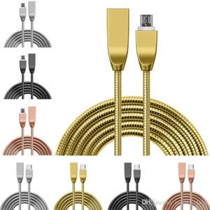 Aleación de zinc Tipo de acero inoxidable c Carga de Micro USB Cable 1 M 3Ft 2A rápida cables USB C para la galaxia S8 S9 S10 S6 S7 EDGE PC HTC LG