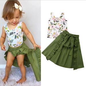 Ropa de diseñador para niños Ropa para niñas Trajes Set Summer Toddler Baby Girls Chaleco floral Top + Shorts + Falda Dovetail Conjunto de ropa de verano Conjunto
