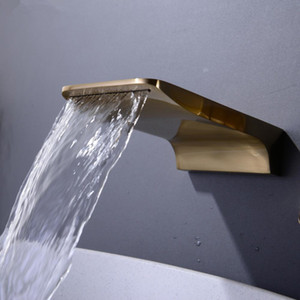 Auslauf, Flach Badezimmer-Bassin-Wannen-Wasser-Outlet Ersatz, Ventil nicht inklusive, Mattschwarz, Chrom, gebürstetes Gold-