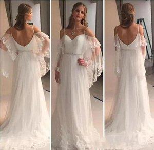 Setwell Spaghetti Backless Wedding Dress Apliques simples Vestidos de novia de encaje Bohemain Tulle Beach Wedding Dress Hecho a medida