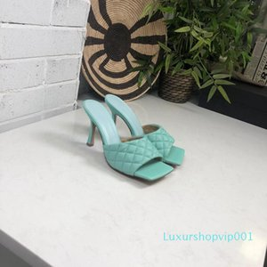Women Designer nappa dream Square toe Sandal PADDED SANDALS ladies fashion Woven slippers Wedding Woman Woven high heels