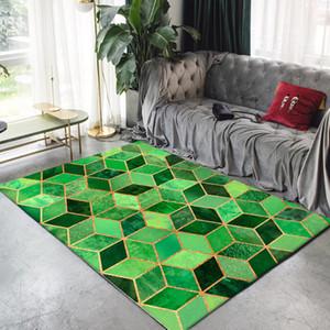 الذهب / الوردي / الأخضر / الأسود الحديثة السجاد لغرفة المعيشة غرفة نوم منطقة السجاجيد الشمال نمط هندسي السجاد طاولة القهوة الحصير