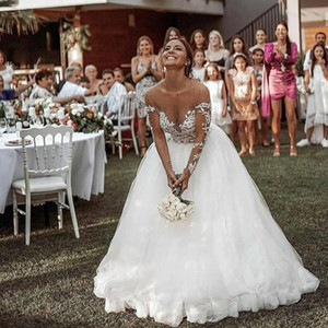 Arabic Aso Ebi Sexy Lace Beaded Wedding Dresses Sheer Neck Long Sleeves Bridal Dresses Cheap Wedding Bridal Gowns plus size