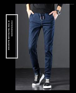 Slim Pocket Retro Casual Jeans Middle Waist Personality Mens Pants Plus Size Belt Dark Blue Mens Denim Pants