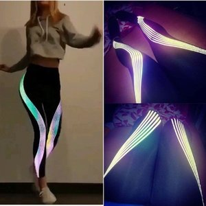 Women Reflective Leggings Fitness Yoga Pants Sport Leggings Splice Workout Running Pants Sport Tights Trousers Mujer