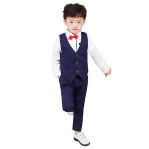High Quality Plaid Boys Formal Suits Birthday Wedding Party Dress Kids Gentleman Waistcoat Pants 2Pcs Piano Performance Clothes