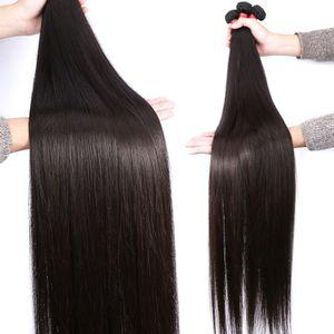 Düz Brezilyalı Virgin Saç Uzun İnç 28 30 32 34 36 40 İşlenmemiş Düz İnsan Saç Paketi Peru Mlaysian saç