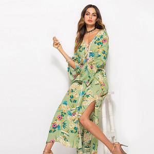 Primavera ed estate 2019 Hot New Lace Trumpet Sleeve V-Neck Stampa Split Long Dress Abbigliamento da donna