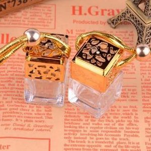 8ML Car Hanging Perfume Rearview Ornament Cube perfume bottle Air Freshener For Essential Oils Diffuser Fragrance Empty Glass Bottle