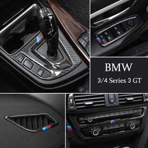 Carbon Fiber Console Gear Shift Box Frame CD Panel Reading Light Cover Trim Sticker for BMW 3 4 Series 3GT F30-F32 F34
