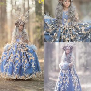 푸른 여자 미인 드레스 보석 목 3d 꽃 아플리케 공주 아이 공식적인 착용 깃털 긴 소매 파티 생일 가운
