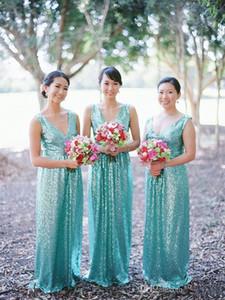 Simples baratos Turquoise lantejoulas País longos vestidos da dama até o chão Plugging da madrinha de casamento do verão partido do cliente Prom Vestido
