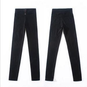 Women's black Pants Pencil Trousers 2020 Spring Fall Button pocke Pants Women Slim Ladies Jean Trousers Female High Waist Pants