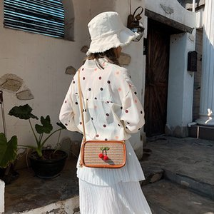 Şık Tasarım #W İçin Kiraz Dekorasyon bayan çantası Jelly Küçük Kare Çanta payetli Net Kırmızı Mini Bayanlar Crossbody Çanta
