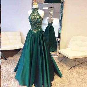 Высокая шея темно-зеленые платья выпускного вечера кружевные вершины и атласные нижние вечерние платья длинные вечерние Zipper