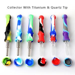 Silikon-Nektar-Kollektor mit Titan Tip / Quarz-Tip Food Grade-Silikon-Dab Nectar Collector Tragbare Raucherzubehör für Wax Dab Rig