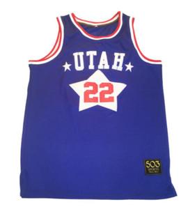 Taille de mesure maillot de basket XXS XS S-XXL 3XL 4XL 5XL 6XL Utah Etoiles de basket-ball personnalisé Jersey ABA Moses Malone Los Angeles