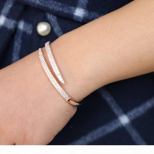 Luxury 925 sterling silver women open bangle bracelet with swarvoski paved rose gold adjust size bracelet for wedding jewelry gift