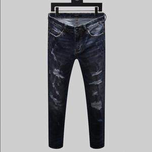 Men's Designer Brand Jeans Classic Hip Hop Pants Designer AMI Jeans Distressed Ripped Biker Jean Slim Fit Motorcycle Denim Jeans Blue