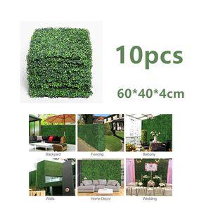 10PCS 60 * 40CM 인공 헤지 TILE LAWN GRASS MAT UV-PROOF 신록 PLANT SCREEN PANEL 벽